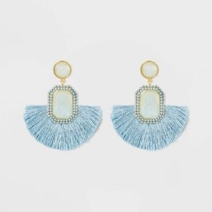 NWT Sugarfix Baublebar fringe earrings chambray